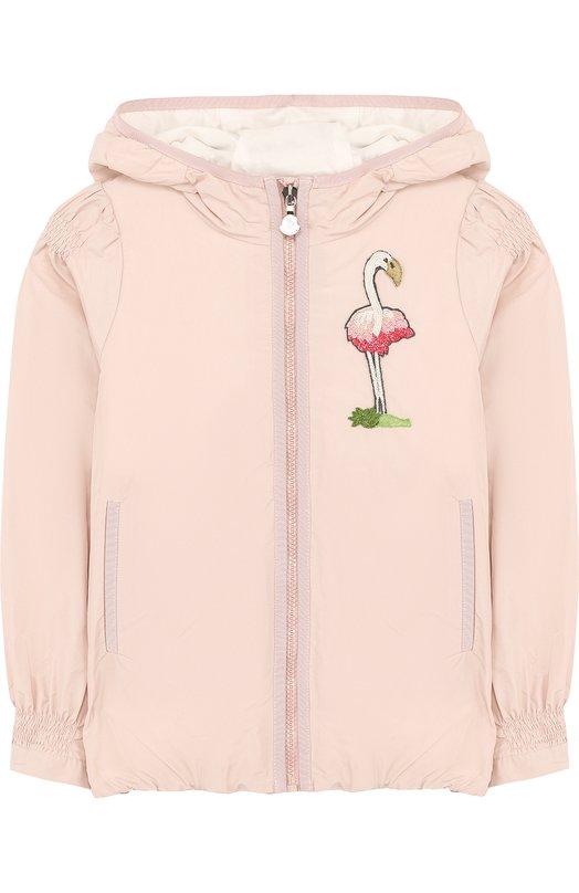 Купить Ветровка на молнии с капюшоном и вышивкой бисером Moncler Enfant, D1-954-46189-55-54881/8-10A, Румыния, Светло-розовый, Полиэстер: 100%; Подкладка-хлопок: 100%;