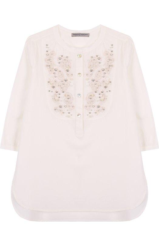 Купить Хлопковая блуза свободного кроя с вышивкой и кристаллами Ermanno Scervino, 42 I CM13 V1/4-8, Италия, Белый, Хлопок: 100%;