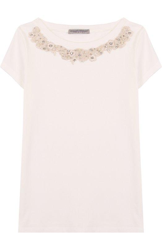 Хлопковая футболка с декоративной вышивкой и кристаллами Ermanno Scervino, 42 I TS31/4-8, Италия, Белый, Хлопок: 93%; Эластан: 7%;  - купить