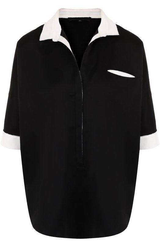 Купить Блуза свободного кроя с коротким рукавом Tegin, SB1815, Россия, Черный, Шелк: 90%; Эластан: 10%;