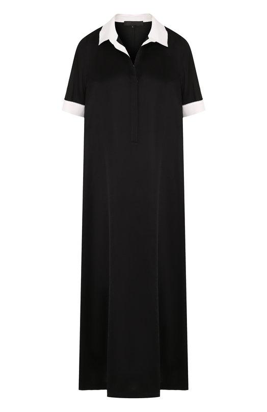 Купить Платье-рубашка свободного кроя с коротким рукавом Tegin, SD1806, Россия, Черный, Шелк: 90%; Эластан: 10%;