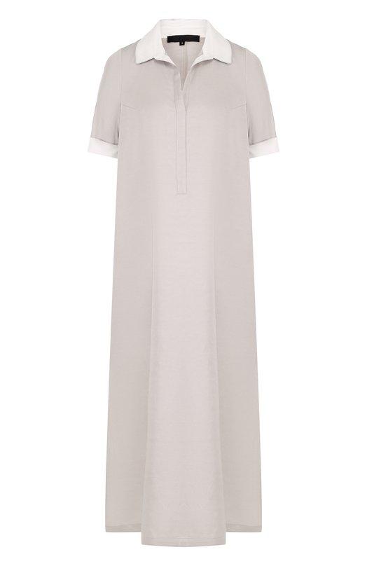 Купить Платье-рубашка свободного кроя с коротким рукавом Tegin, SD1806, Россия, Серый, Шелк: 90%; Эластан: 10%;