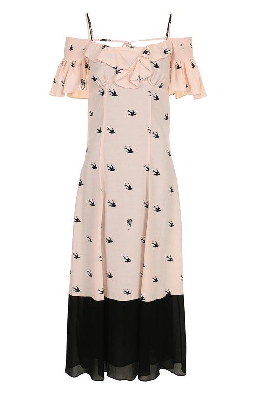 Купить Платье-миди из вискозы с открытыми плечами MCQ, 486566/RKF11, Италия, Розовый, Вискоза: 100%; Подкладка-полиэстер: 100%;
