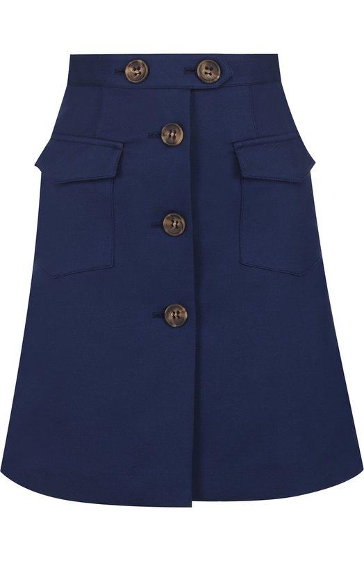 Купить Однотонная хлопковая мини-юбка REDVALENTINO, PR0RA2U5/3M7, Венгрия, Синий, Хлопок: 81%; Эластан: 2%; Полиамид: 17%;