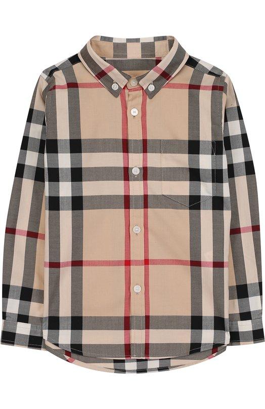 Купить Хлопковая рубашка с воротником button down Burberry, 3830127, Таиланд, Разноцветный, Хлопок: 100%;