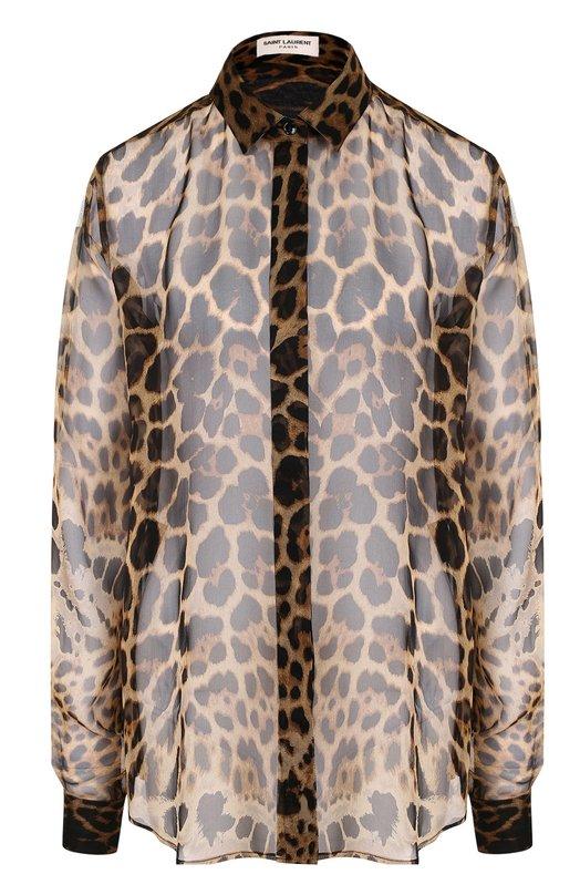 Купить Шелковая блуза свободного кроя с леопардовым принтом Saint Laurent, 512193/Y820S, Италия, Леопардовый, Шелк: 100%;