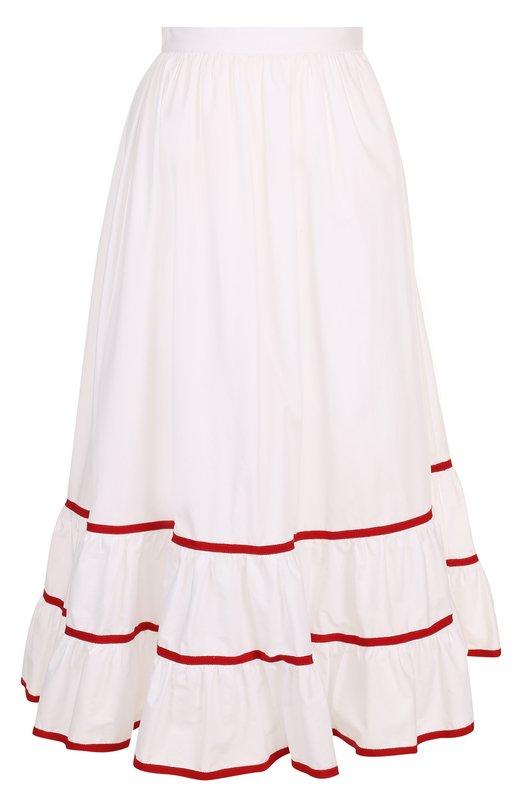 Купить Хлопковая юбка-миди с оборкой и контрастной отделкой Stella Jean, J G 043 00 T 9487, Италия, Белый, Подкладка-ацетат: 70%; Подкладка-полиэстер: 30%; Хлопок: 100%;