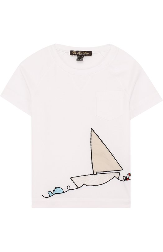 Хлопковая футболка с вышивкой Loro Piana