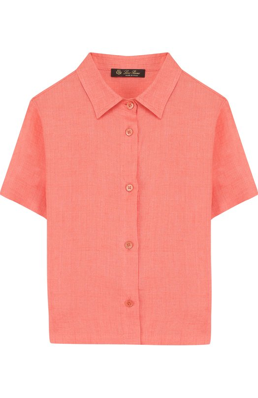 Льняная рубашки прямого кроя с короткими рукавами Loro Piana