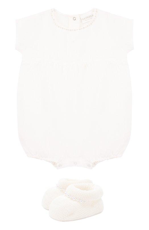 Купить Льняной комплект из боди с пинетками La Perla, 48557H, Италия, Белый, Лен: 100%;