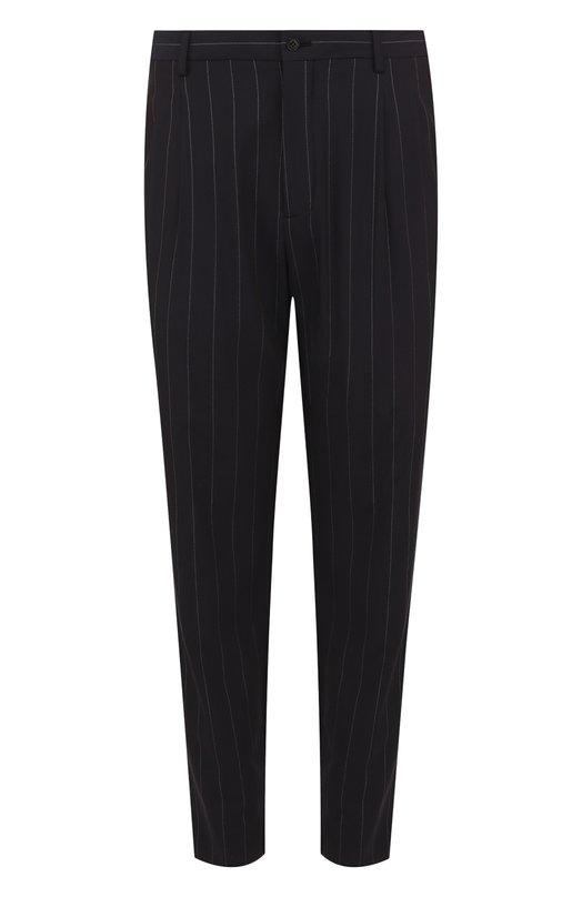 Купить Шерстяные брюки прямого кроя Giorgio Armani, WSP042/WS523, Италия, Темно-синий, Полиамид: 9%; Подкладка-купра: 85%; Шерсть: 84%; Полиэстер: 4%; Эластан: 3%; Подкладка-эластан: 15%;