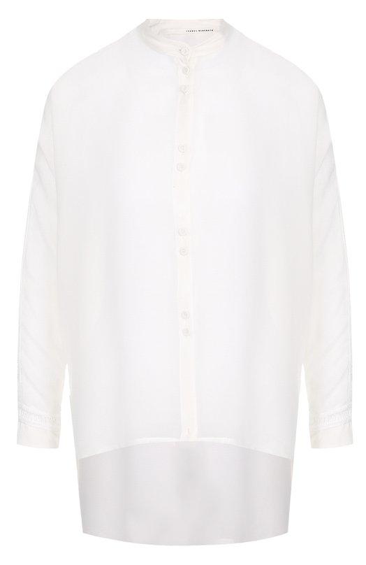 Купить Блуза асимметричного кроя из смеси хлопка и шелка Isabel Benenato, WW14S18, Италия, Белый, Хлопок: 78%; Шелк: 22%;