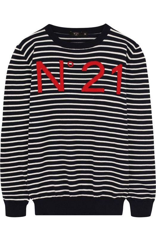 Купить Хлопковый пуловер в полоску с логотипом бренда No. 21, 08 X/Y825/V236/34-44, Италия, Синий, Хлопок: 100%;