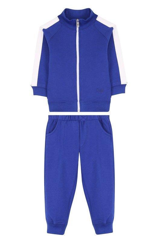 Купить Хлопковый костюм из брюк и кардигана Il Gufo, P18DP253M0030/3M-9M, Болгария, Синий, Хлопок: 100%;