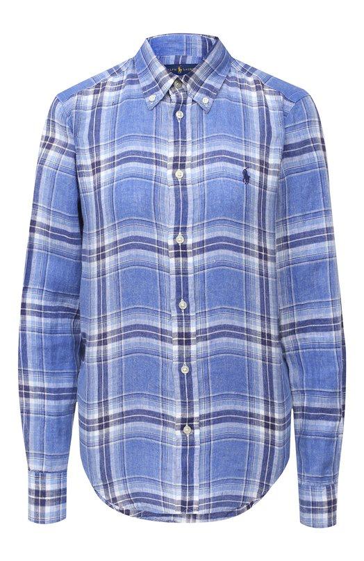 Купить Льняная блуза свободного кроя в клетку Polo Ralph Lauren, 211697464, Индия, Синий, Лен: 100%;