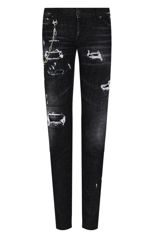 Купить Укороченные джинсы-скинни с потертостями Dsquared2, S72LB0085/S30357, Италия, Черный, Хлопок: 98%; Эластан: 2%;