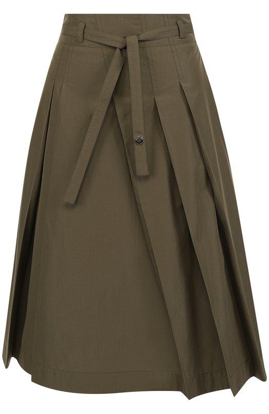 Купить Однотонная хлопковая юбка-миди с поясом Loro Piana, FAI1052, Италия, Хаки, Хлопок: 100%;