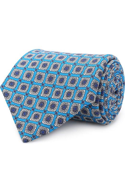 Купить Шелковый галстук с узором Kiton, KA/C2C89, Италия, Синий, Шелк: 100%;