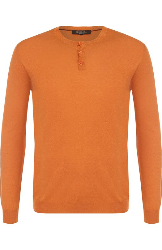 Купить Джемпер тонкой вязки из смеси шелка и льна Loro Piana, FAI0892, Италия, Оранжевый, Шелк: 55%; Лен: 45%;