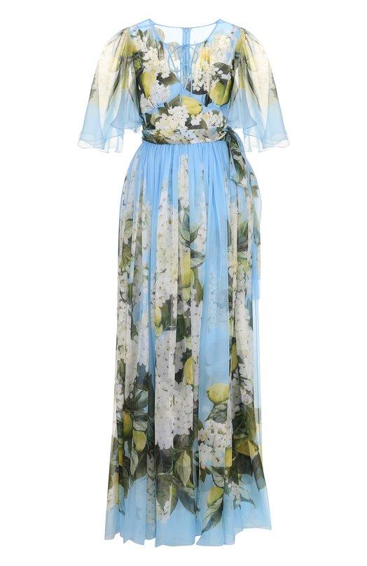 Купить Шелковое платье-макси с принтом и поясом Dolce & Gabbana, F68J8T/HH1DF, Италия, Голубой, Подкладка-шелк: 76%; Подкладка-эластан: 4%; Подкладка-полиамид: 4%; Подкладка-хлопок: 16%; Шелк: 100%;