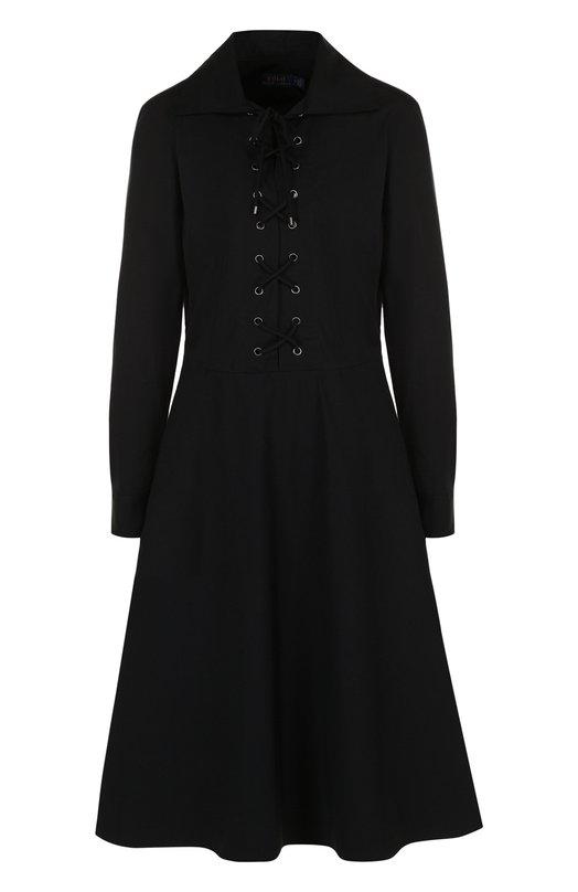 Купить Приталенное хлопковое платье с длинным рукавом Polo Ralph Lauren, 211700084, Китай, Черный, Хлопок: 100%;