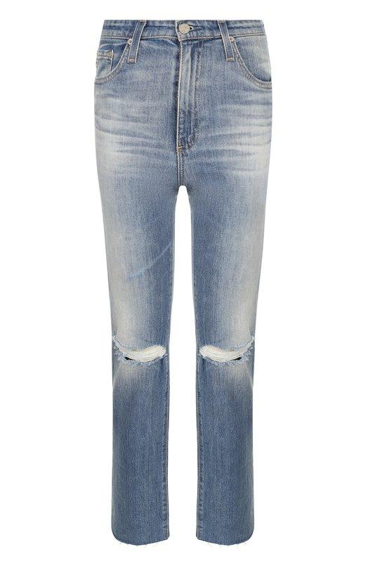 Укороченные джинсы прямого кроя с потертостями Ag, Ag