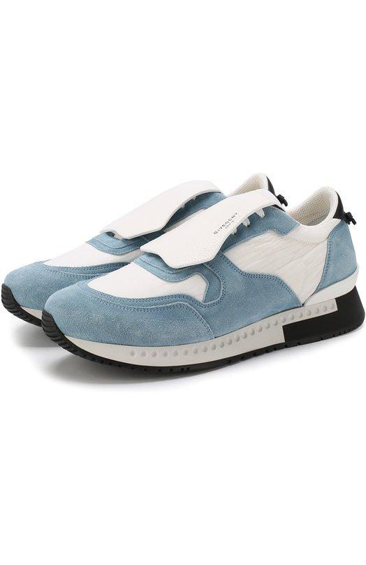 Купить Комбинированные кроссовки на шнуровке Givenchy, BH0015H039, Италия, Голубой, Подошва-кожа: 100%; Замша натуральная: 100%; Текстиль: 100%; Подкладка-кожа: 100%;