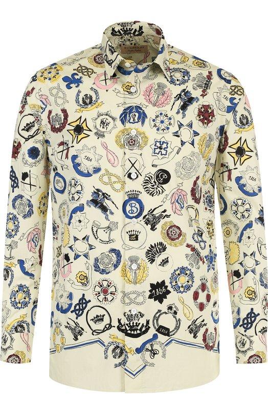 Купить Хлопковая рубашка с принтом Burberry, 4070500, Тунис, Разноцветный, Хлопок: 100%;