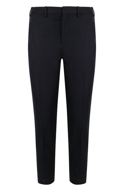 Купить Укороченные брюки прямого кроя из смеси хлопка и льна Neil Barrett, BPA510/G088, Италия, Темно-синий, Хлопок: 61%; Лен: 39%;