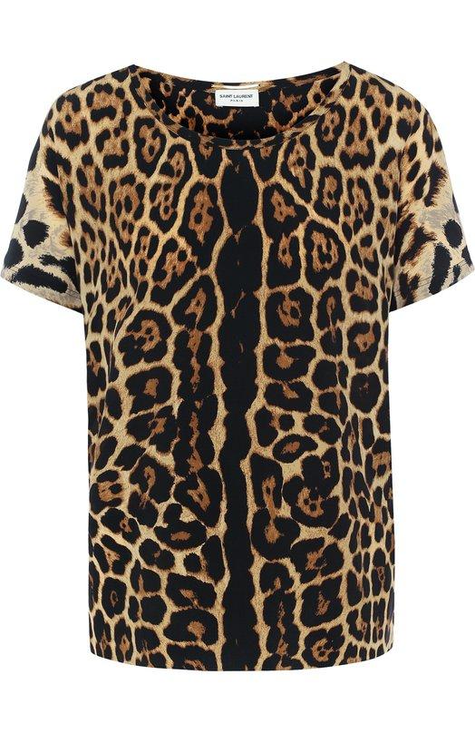 Купить Шелковый топ с круглым вырезом и леопардовым принтом Saint Laurent, 496878/Y374Q, Италия, Леопардовый, Шелк: 100%; шелк: 100%;