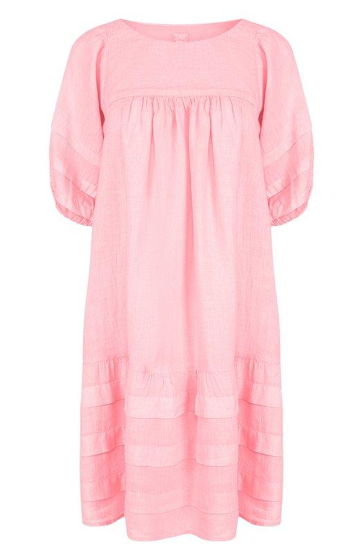 Купить Однотонное льняное платье свободного кроя 120% Lino, N0W4779/B317/000, Болгария, Розовый, Лен: 100%;