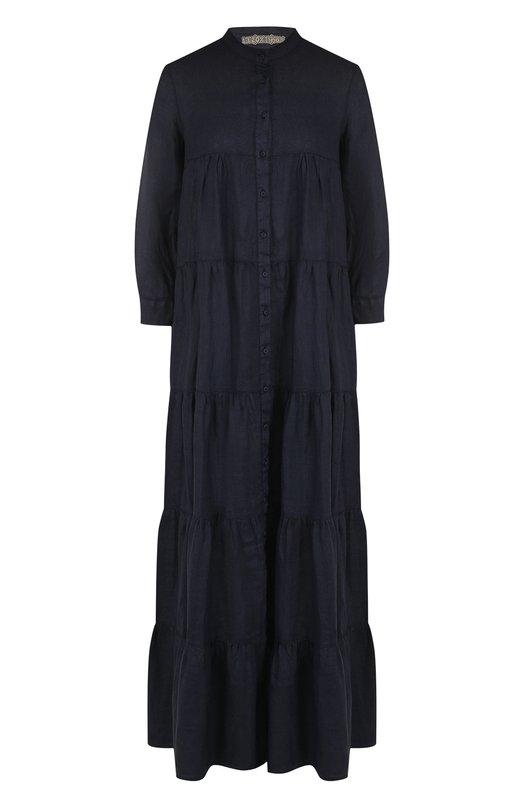 Однотонное льняное платье свободного кроя 120% Lino, N2W4008/B317/000, Болгария, Темно-синий, Лен: 100%;  - купить