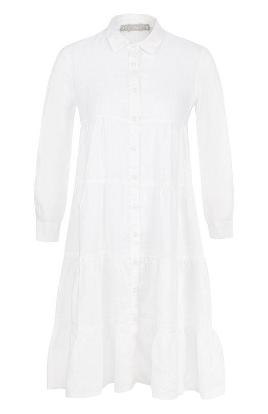 Купить Однотонное льняное платье свободного кроя 120% Lino, N2W4577/B317/000, Болгария, Белый, Лен: 100%;