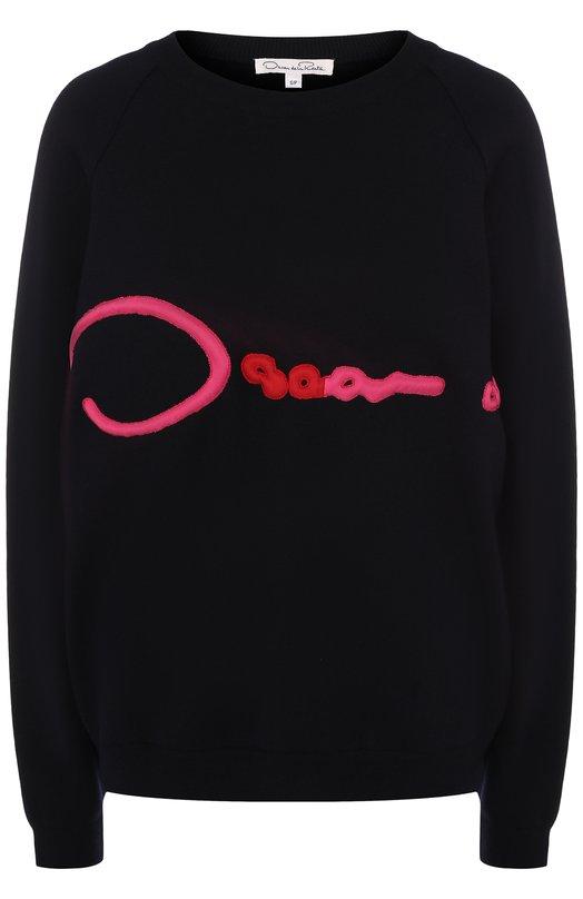 Купить Шерстяной пуловер с контрастной отделкой Oscar de la Renta, 18SE149RF0, Италия, Темно-синий, Шерсть меринос: 100%;