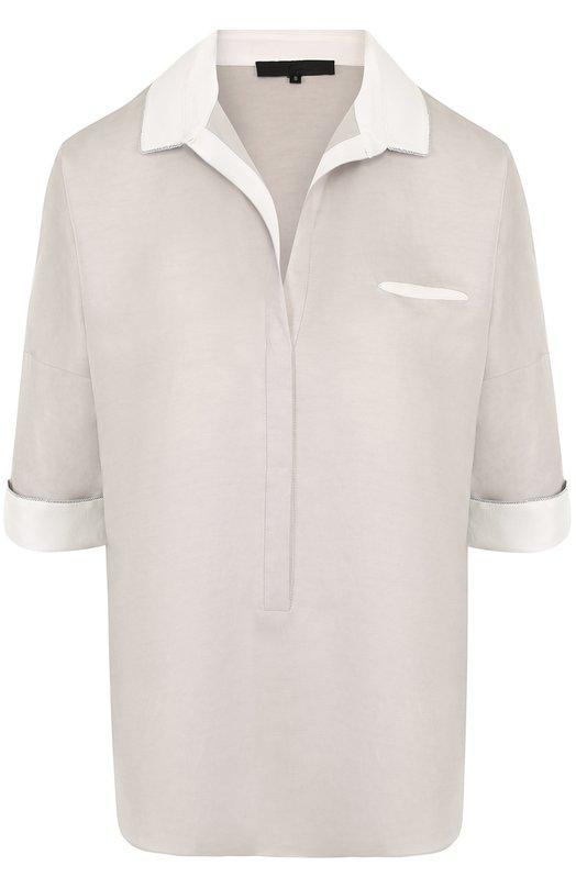 Купить Блуза свободного кроя с коротким рукавом Tegin, SB1815, Россия, Серый, Шелк: 90%; Эластан: 10%;