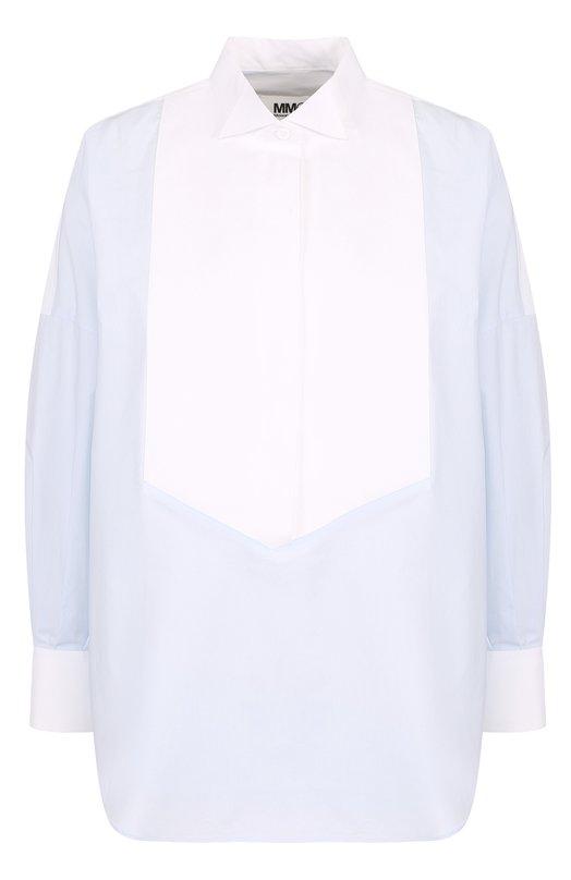 Купить Хлопковая блуза свободного кроя Mm6, S32DL0194/S47294, Италия, Голубой, Хлопок: 100%;