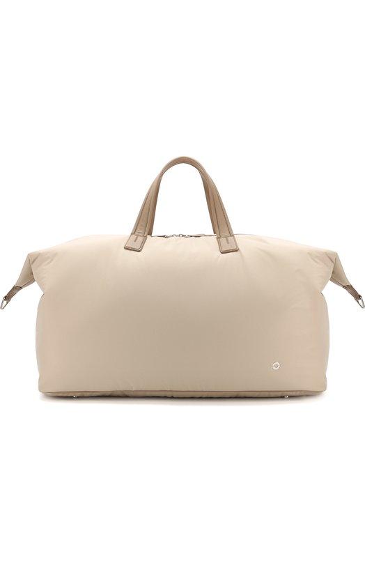 Купить Текстильная дорожная сумка с плечевым ремнем Loro Piana, FAF6681, Италия, Светло-бежевый, Текстиль: 85%; Кожа: 15%; Отделка Кожа натуральная: 100%;