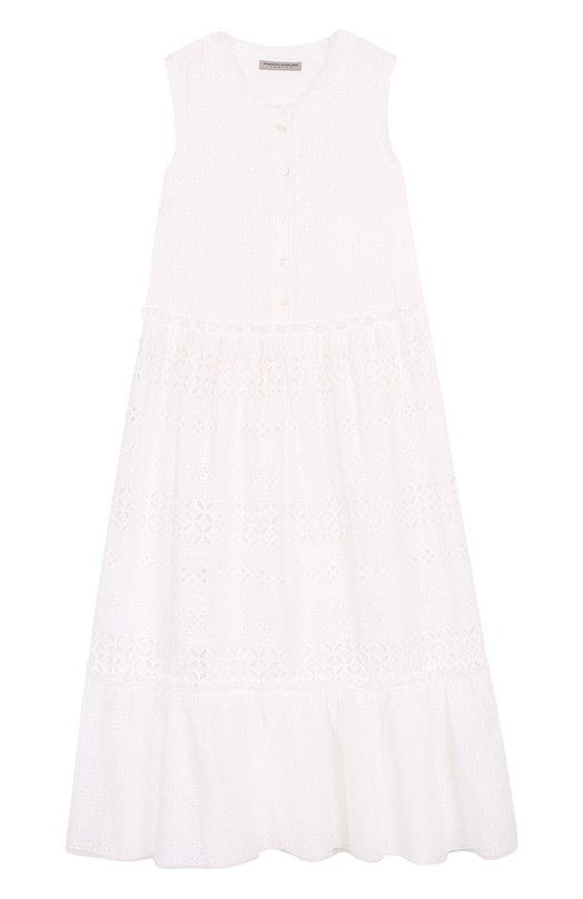 Расклешенное платье-миди из хлопка с кружевной отделкой Ermanno Scervino