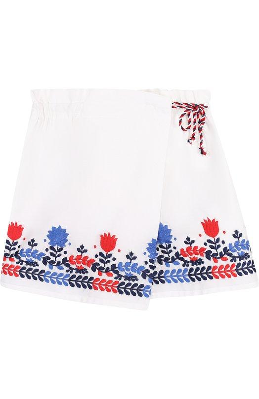 Хлопковые шорты с запахом с вышивкой Ermanno Scervino