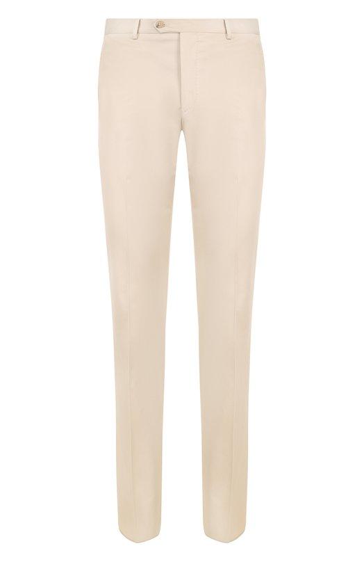 Купить Хлопковые брюки прямого кроя Pal Zileri, M3130--K---34132, Италия, Бежевый, Хлопок: 98%; Эластан: 2%;