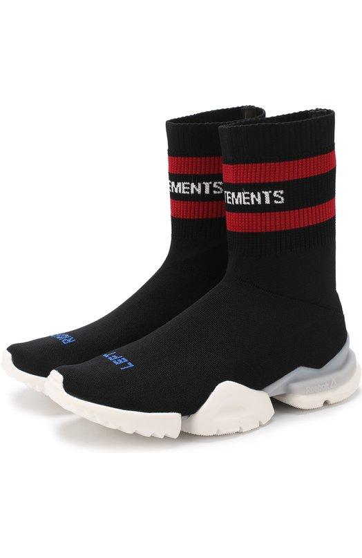 Купить Высокие текстильные кроссовки Vetements x Reebok Vetements, MSS18RE1, Китай, Черный, Подошва-резина: 100%; Текстиль: 100%; Подкладка-текстиль: 100%;
