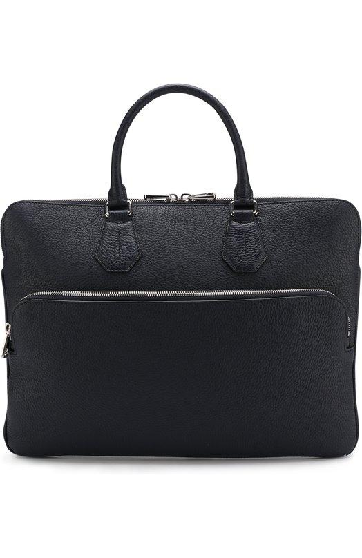 Купить Кожаная сумка для ноутбука с плечевым ремнем Bally, SEED0RF/77/CALF, Италия, Темно-синий, Кожа натуральная: 100%;