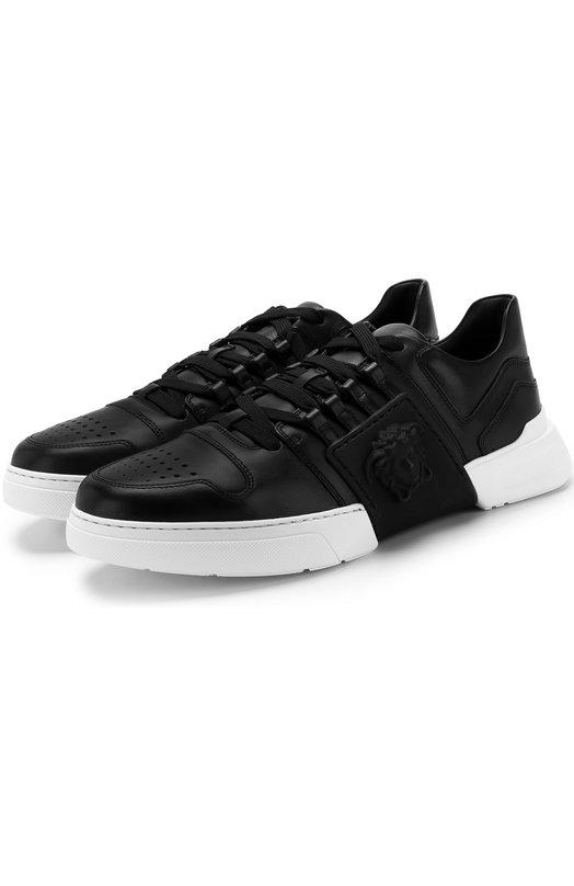 Купить Кожаные кеды на шнуровке Versace, DSU6724/DVG3G, Италия, Черный, Кожа натуральная: 100%; Подошва-резина: 100%; Подкладка-кожа: 100%;