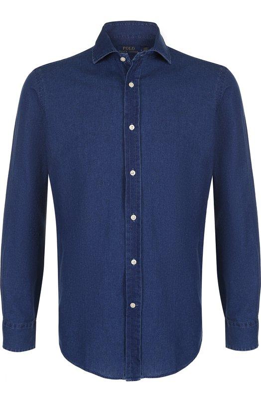 Купить Хлопковая рубашка с воротником акула Polo Ralph Lauren, 710693064, Филиппины, Темно-синий, Хлопок: 100%;