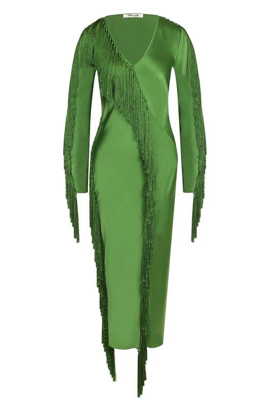 Купить Однотонное приталенное платье-миди с бахромой Diane Von Furstenberg, 11416DVF, Китай, Зеленый, Триацетат: 86%; Полиэстер: 14%;