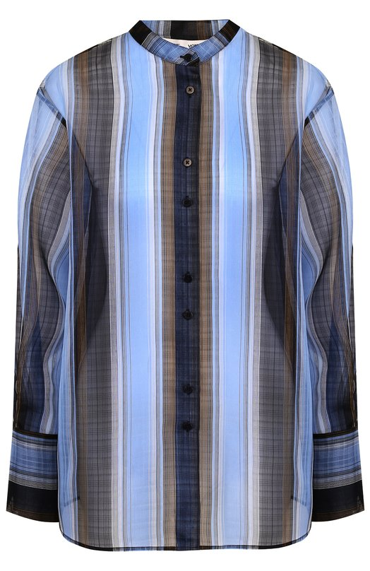 Купить Шелковая блуза свободного кроя с воротником-стойкой Diane Von Furstenberg, 11459DVF, Китай, Синий, Шелк: 100%;