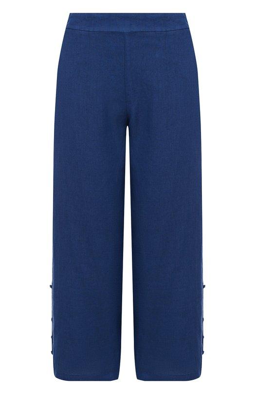 Купить Однотонные льняные брюки с карманами 120% Lino, N1W2329/0253/000, Болгария, Синий, Лен: 100%;