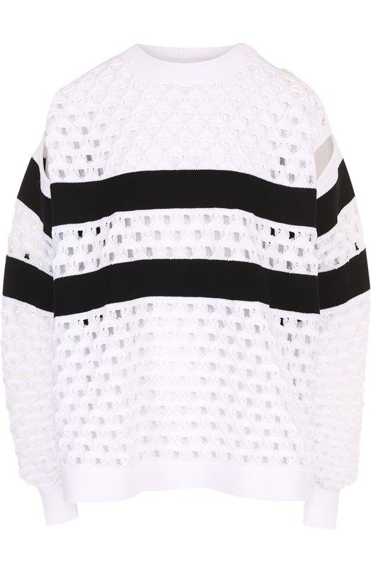 Купить Пуловер фактурной вязки с круглым вырезом Sonia Rykiel, 19859924-11, Италия, Черно-белый, Полиамид: 78%; Хлопок: 22%;