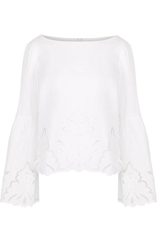 Купить Хлопковая блуза с длинными расклешенными рукавами Polo Ralph Lauren, 211706552, Китай, Белый, Хлопок: 100%;