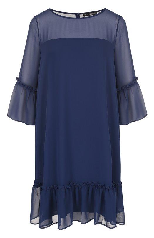 Купить Однотонное мини-платье свободного кроя Pietro Brunelli, AG0042/PL0012, Италия, Синий, Полиэстер: 100%; Подкладка-полиэстер: 100%;